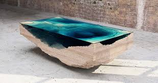 Coffee Table Made Of Layered Glass To Resemble The Depths Of The Ocean