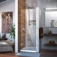 amusing 24 shower door dream line unidoor in w x 72 h frameless hinged clear glass chrome d r 20247210 f 01 com towel bar handle home depot lowe