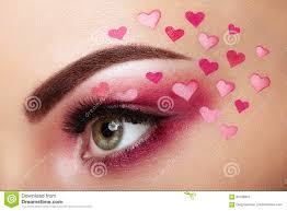 eye make up with a heart valentine s day makeup beauty fashion eyelashes cosmetic eyeshadow makeup detail creative woman holiday make up