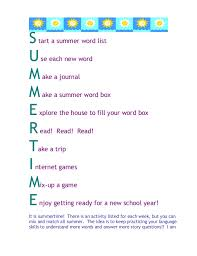 Summer Word List Summer Language Ideas_general 2