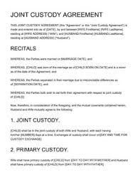 Custody Agreement Template Family Agreement Sample 5 Free Law Templates Edit And
