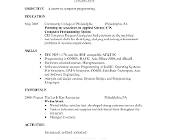 Restaurant Waitress Resume Remarkable Waiter Resume Examples Sample No Experience Objective Pdf 24
