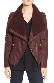 guess women s guess faux leather moto jacket with faux fur trim