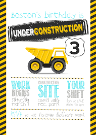 3 year old construction party printables boss 3rd birthday invite construction party