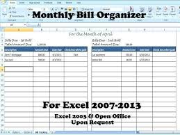 Online Bills Organizer Bill Organizer Bill Organizer Template Excel Divide Payments Into