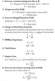 a level physics formula sheet electromagnetism
