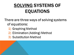 4 solving systems of equations there are three ways of solving systems of equations 1 graphing method 2 elimination adding method 3 substitution method