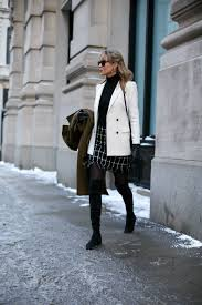 black white check mini skirt tory burch turtleneck tights over the knee boots stuart weitzman double ted blazer trench coat classic style7