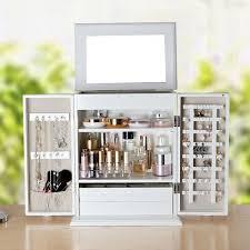 european style 2 in 1 jewelry storage makeup organizer dresser tabletop cabinet