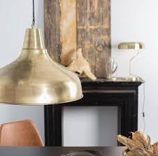 large industrial brass pendant light