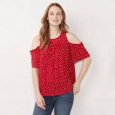 Kohls Womens Jeans Size Chart Lauren Conrad Womens Ruffle Cold Shoulder Top Kohls In