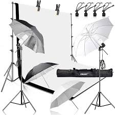 Emart 400w 5500k Daylight Umbrella Continuous Lighting Kit 8 5x10ft Background Support System With 2 Muslin Backdrops Black And White For Photo