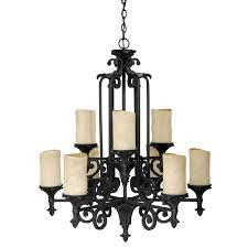 nine light wrought iron candle chandelier