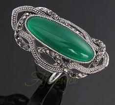 925 <b>Silver</b> MARCASITE Ring Oval Natural <b>Green</b> Stone jades <b>S925</b> ...