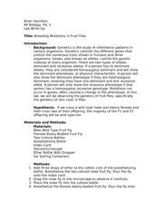 bio breeding mutation in fruit flies lab report and answers  4 pages 61324154 fruit fly lab