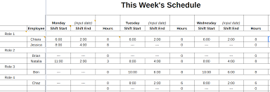 weekly schedule example free employee schedule templates instructions