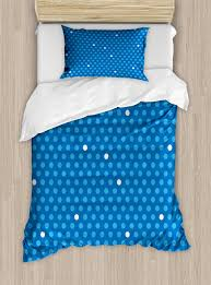 blue duvet cover set bold polka dots in blue and white colors cute fun retro style kids design decorative bedding set with pillow shams blue pale blue