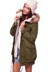 army green hooded cotton parka coat