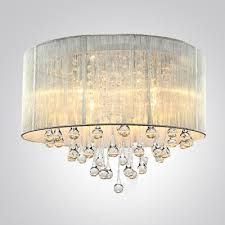 silver drum shade and rich crystal rainfall flush mount chandelier in prepare 6