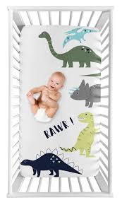 mod dino boy fitted crib sheet baby or
