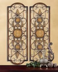 old world european metal wall art striking accent for kitchen dining or outdoor areas distressed chestnut with burnished edges and antiqued gold details on mediterranean metal wall art with set of 2 tuscan mediterranean wall grilles panels 3 1 2 feet tall