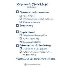 Resume Checklist For High School Students