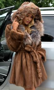 mink furs demi buff superior saga mink fur coat with silver fox hood trench
