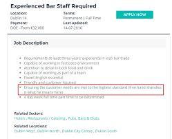 Bar Staff Job Description Pic Free Hand Shandies Included In Job Description In Ad