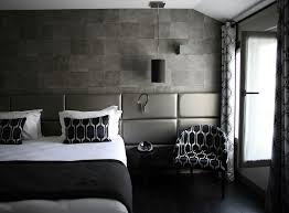 exquisite design black white red. Bedrooms Exquisite Stone Wall Bedroom Design With Grey Leather Headboard And Black White Patterned Single Sofa Also Wood Flooring Red
