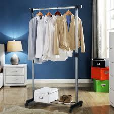 portable stainless steel clothes organizer hanger rack garment coat cloth dryer
