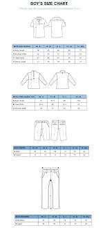 Boys Size Chart Quality Junior Golf Apparel Kids Golf