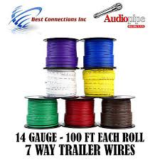 trailer wire light cable for harness 7 way cord 16 gauge 100ft trailer light cable wiring harness 100ft spools 14 gauge 7 wire 7 colors