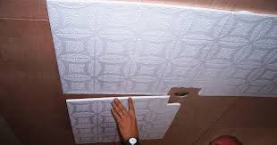 image of diy modern ceiling tiles installation