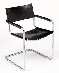 mid century modern marcel breuer black leather and tubular chrome steel chairs set of