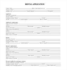 Free Downloadable Standard Rental Application Form House Lease ...
