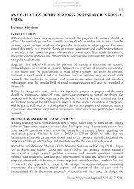 What Is Descriptive Evaluative Research Design Pdf An Evaluation Of The Purposes Of Research In Social Work