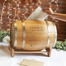 Wood wine barrel gift card holder personalized with 2 lines of custom laser  engraving with barrel