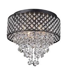 antique black 4 light round drum cascading crystal chandelier ceiling fixture