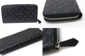 Used COACH coach op art embossed leather accordion zip around large zip  around wallet black 60735