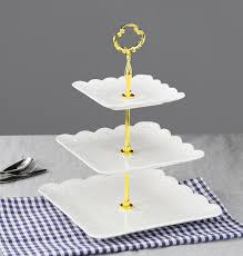 dowan 3 tier porcelain square cake stand tea party serving platter for white