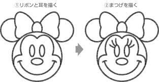 ミニーマウスのイラストの簡単な書き方