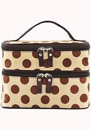 women s double layer cosmetic bag with polka dot travel toiletry makeup organizer mirror