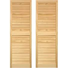 pinecroft 2 pack unfinished louvered wood exterior shutters common 15 in x