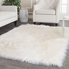 white shag rug. Safavieh Faux Silky Sheepskin FSS235A Ivory Area Shag Rug (4\u0027 X White D