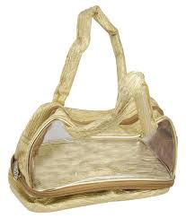 bagathon india gold and transpa makeup organizer bag