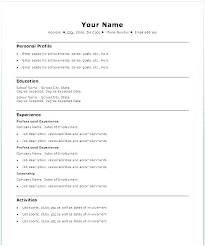 Easy Resume Adorable Template Resume Word Easy Example Sample Basic Curriculum Vitae Free