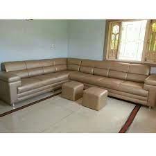 brown plain designer leather sofa set