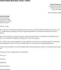 Cover Letter for an Internship  college student resume sample