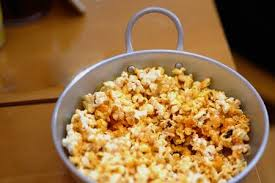 Popcorn In Aluminium Bow On The Table Stock Photo Picture And