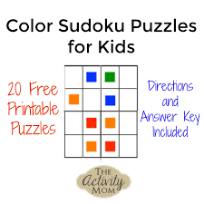 Add color to pictures of your favorite animals, interesting objects, yummy food, fun activities, vacation spots use the black lines as a guide and have fun making the coloring pages look bright and beautiful. The Activity Mom Free Printable Color Sudoku Puzzles For Kids The Activity Mom